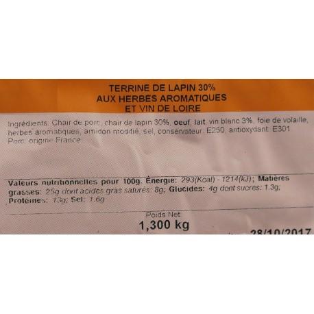 Terrine de Lapin 30% aux Herbes Aromatique et Vin de Loire